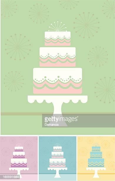 multiple minimalist illustrations of a wedding cake - wedding cake stock illustrations