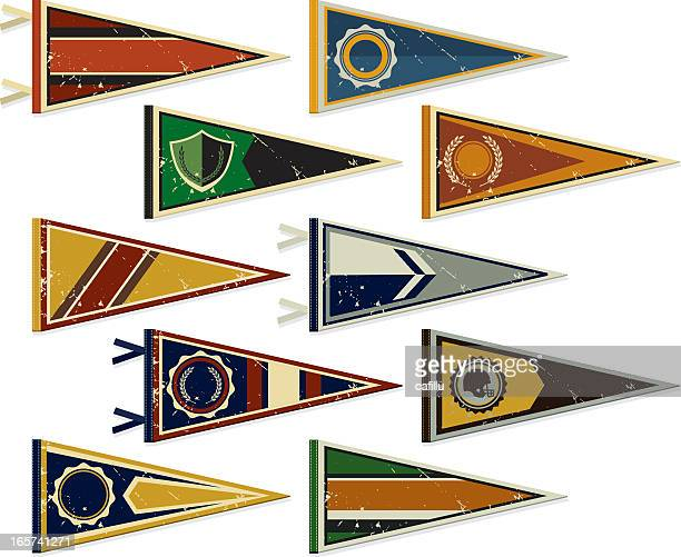 multiple pennants on a white background - pennant stock illustrations