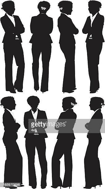 multiple positions of a businesswoman with arms crossed - hair bun stock illustrations, clip art, cartoons, & icons
