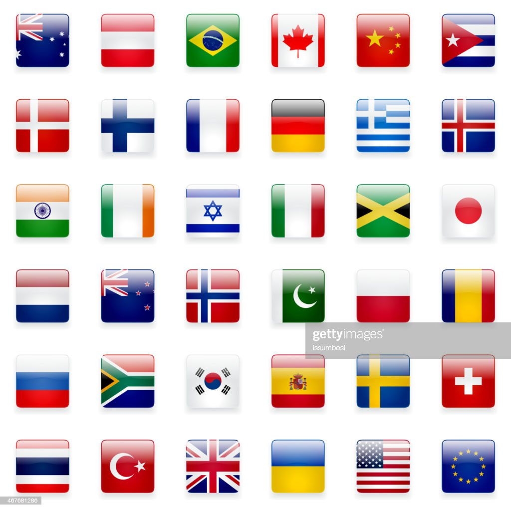 Multiple rows of world flag icons on a white background