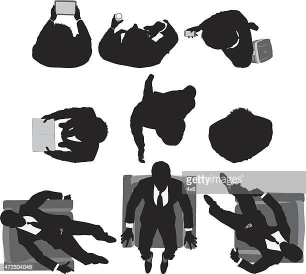 multiple shot of a businessman in different poses - looking down stock illustrations, clip art, cartoons, & icons
