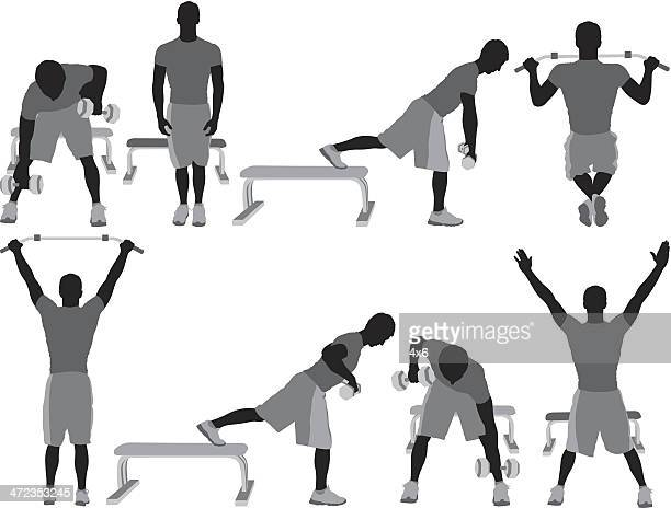 Multiple silhouette of a man exercising
