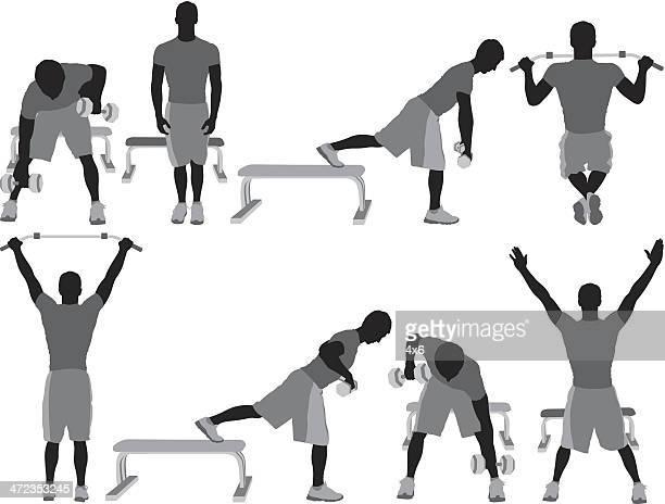 Plusieurs silhouette d'un homme faisant de l'exercice