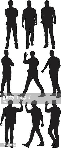 multiple silhouette of a man in different poses - one man only stock illustrations