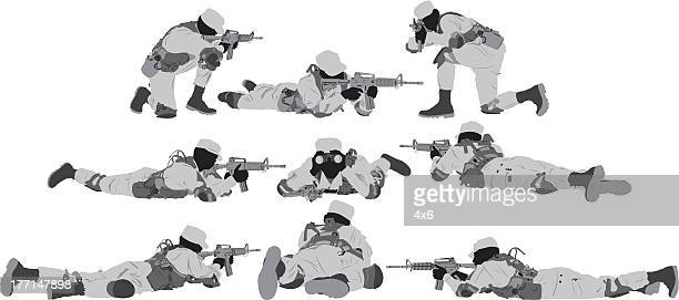 multiple silhouette of a soldier - special forces stock illustrations, clip art, cartoons, & icons