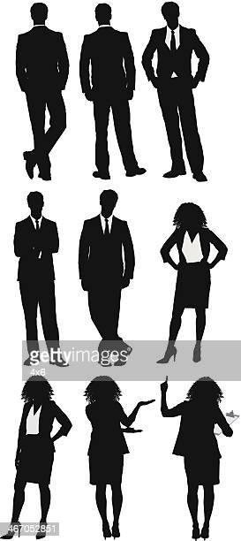 複数のシルエットのビジネスマンやビジネスウーマン - 腰に手を当てる点のイラスト素材/クリップアート素材/マンガ素材/アイコン素材