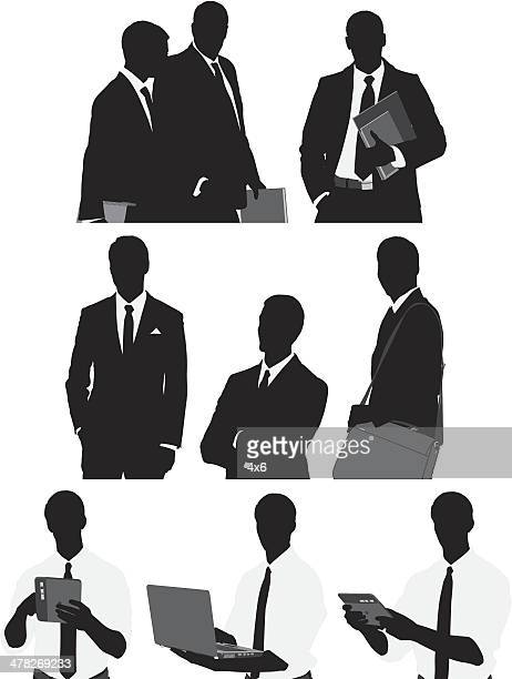 multiple silhouette of businessman - messenger bag stock illustrations, clip art, cartoons, & icons