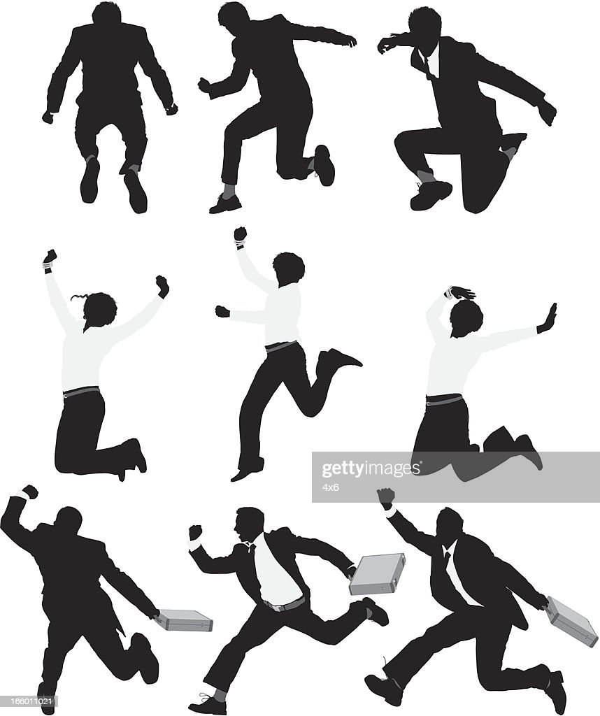 Multiple silhouette of businesspeople running and jumping : stock illustration