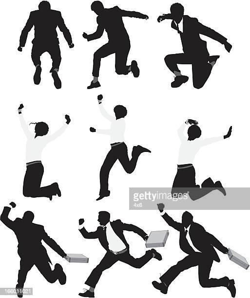 Multiple silhouette of businesspeople running and jumping