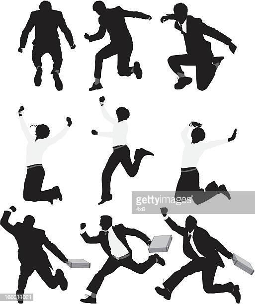 mehrere silhouette von geschäftsleuten laufen und springen - full suit stock-grafiken, -clipart, -cartoons und -symbole