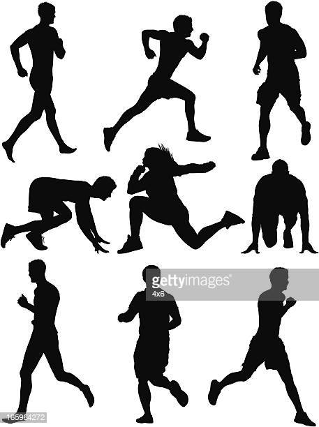 Multiple silhouette of sportsmen in action