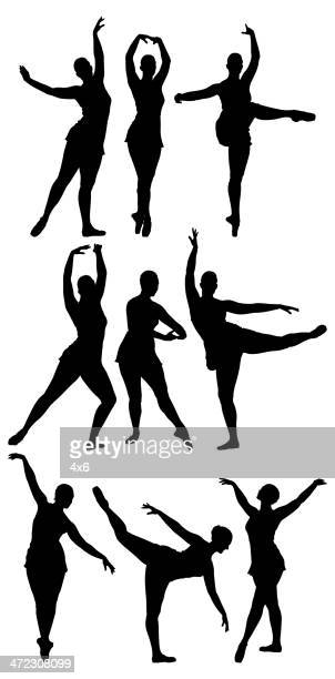 multiple silhouettes of a ballet dancer dancing - standing on one leg stock illustrations, clip art, cartoons, & icons