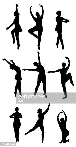 stockillustraties, clipart, cartoons en iconen met multiple silhouettes of a ballet dancer dancing - match sport