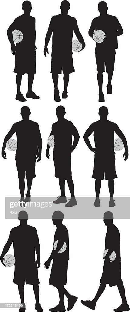 Multiple silhouettes of a basketball player