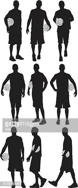 ilustraciones, imágenes clip art, dibujos animados e iconos de stock de múltiples siluetas de un jugador de baloncesto - jugadordebaloncesto