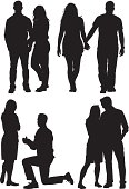 Multiple silhouettes of a couple