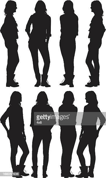 multiple silhouettes of a woman with hands in pockets - full length stock illustrations, clip art, cartoons, & icons