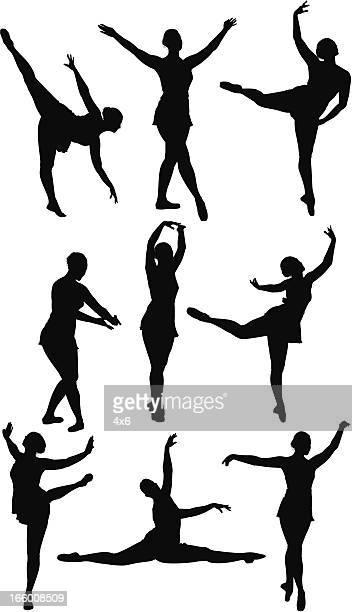 stockillustraties, clipart, cartoons en iconen met multiple silhouettes of ballet dancers - match sport