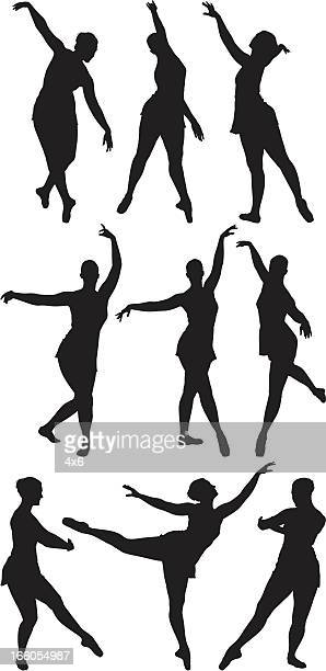 multiple silhouettes of ballet dancers - standing on one leg stock illustrations, clip art, cartoons, & icons