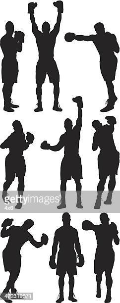 Multiple silhouettes of boxer