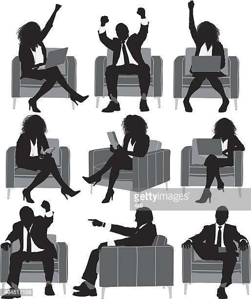 Multiple silhouettes of business executives sitting