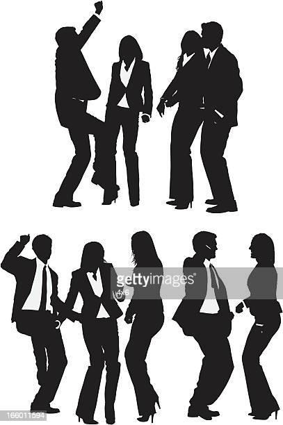 ilustraciones, imágenes clip art, dibujos animados e iconos de stock de múltiples la gente de negocios siluetas de la danza - pareja bailando cuerpo entero