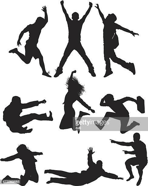 Verschiedene Silhouetten der jumping in air