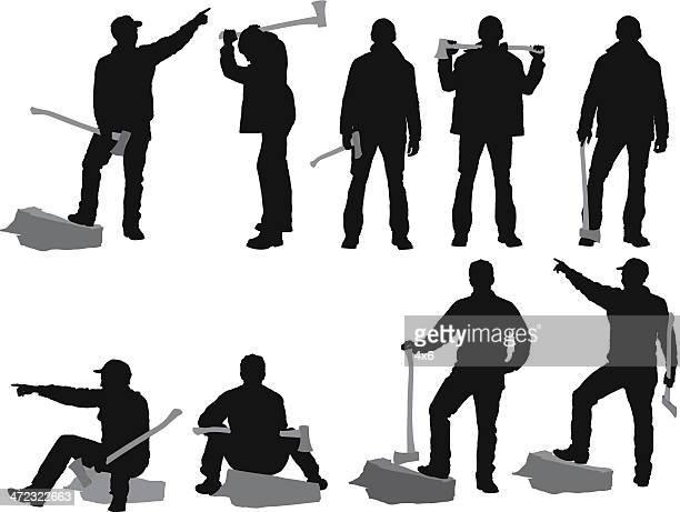 複数のシルエットの労働者