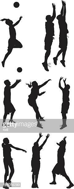 illustrazioni stock, clip art, cartoni animati e icone di tendenza di più modelli di uomo e donna, giocare a pallavolo - pallone da pallavolo