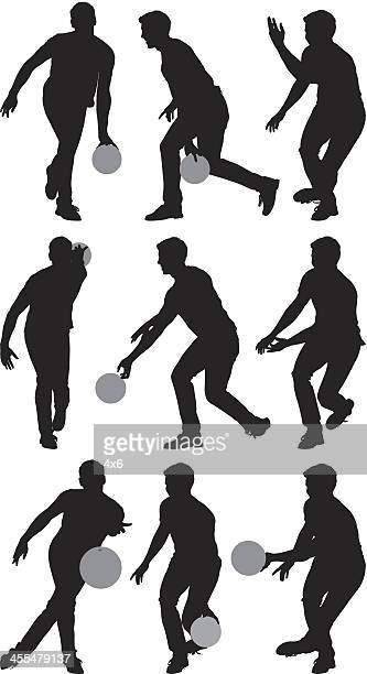Verschiedene Silhouetten von Männern bowling