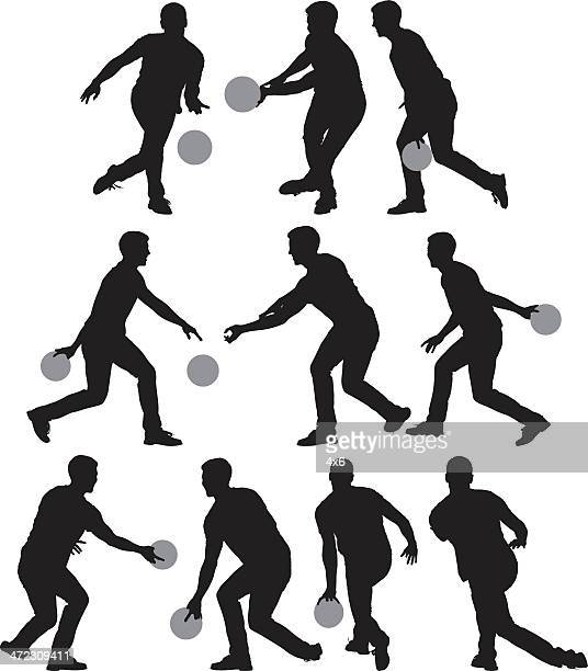 multiple silhouettes of men bowling - bowling stock illustrations, clip art, cartoons, & icons