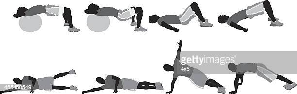 multiple silhouettes of men exercising - lying on side stock illustrations