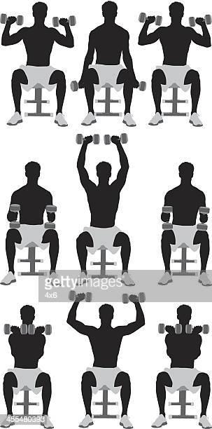 ilustraciones, imágenes clip art, dibujos animados e iconos de stock de múltiples siluetas de hombres ejercicio - entrenamiento de fuerza