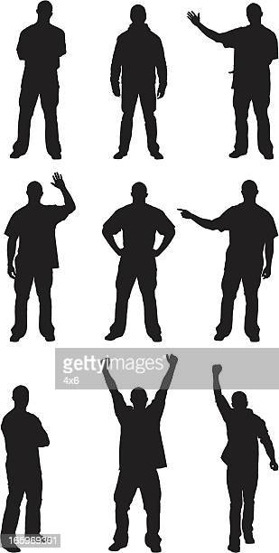 Multiple silhouettes of men posing