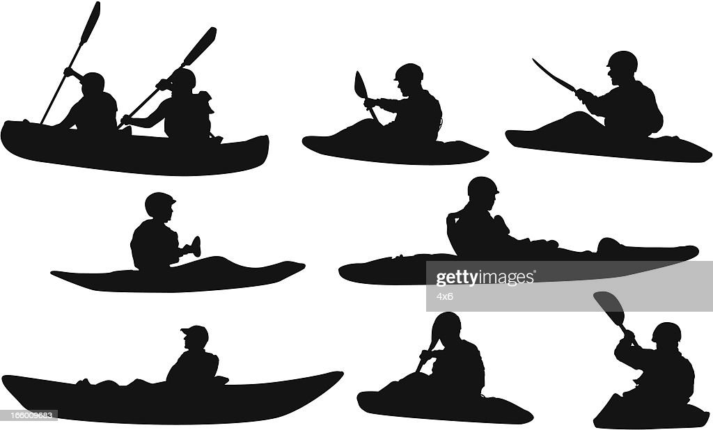 Multiple Silhouettes Of People Canoeing Vector Art