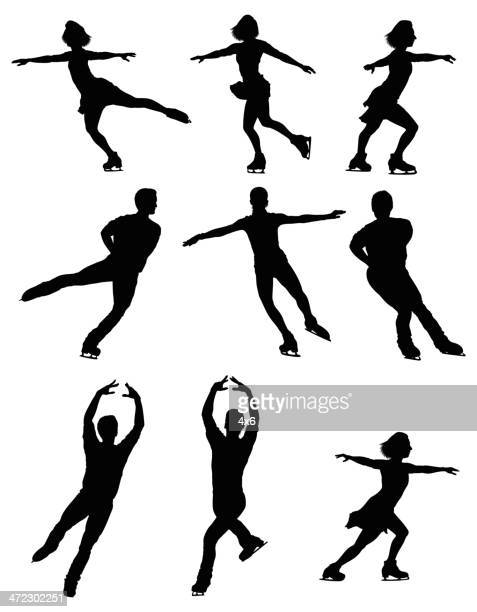 multiple silhouettes of people ice skating - figure skating stock illustrations