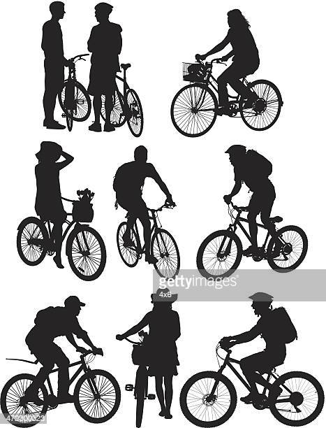 multiple silhouettes of people on bicycle - motorcycle rider stock illustrations, clip art, cartoons, & icons