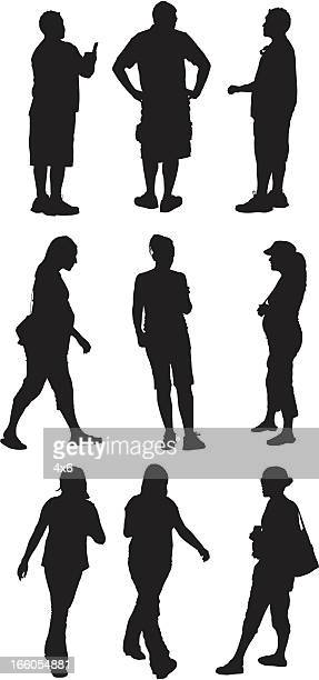 Multiple silhouettes of people