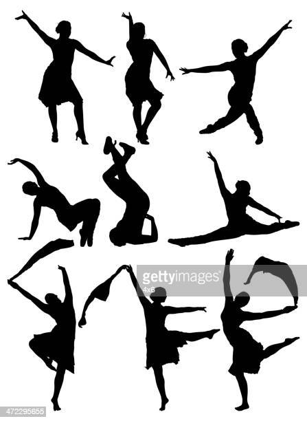 Multiple silhouettes of women dancing