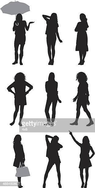 multiple silhouettes of women posing - parasol stock illustrations
