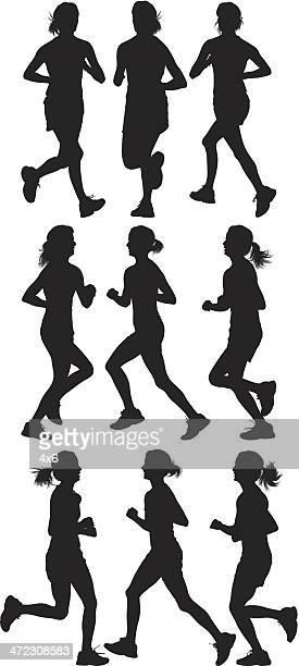 multiple silhouettes of women running - jogging stock illustrations, clip art, cartoons, & icons