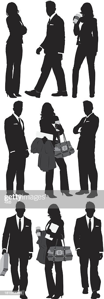 Multiple silhouttes of business people : stock illustration