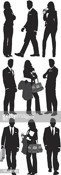 Multiple silhouttes of business people
