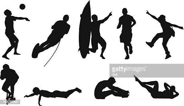 multiple sports and fitness - touching toes stock illustrations, clip art, cartoons, & icons