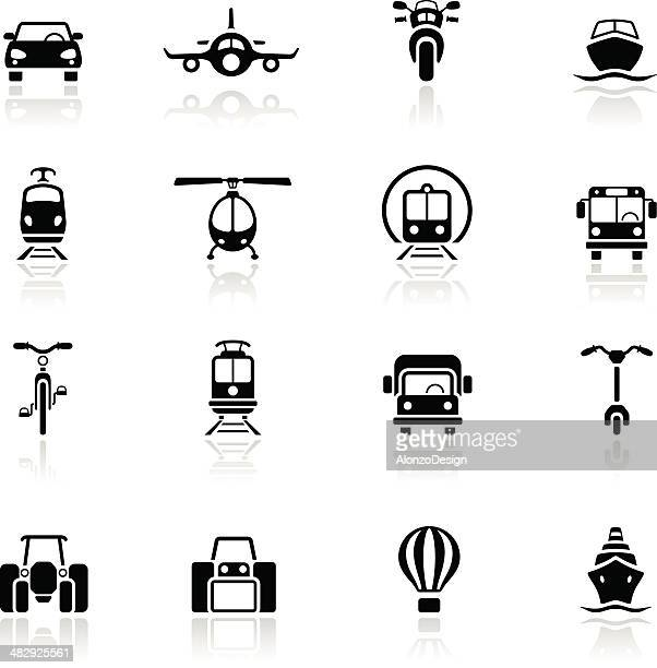 stockillustraties, clipart, cartoons en iconen met multiple types of transportation icons in black - frontaal