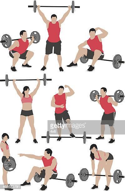 ilustraciones, imágenes clip art, dibujos animados e iconos de stock de varios vector del hombre y de la mujer levantando pesas - entrenamiento con pesas
