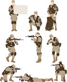 Multiple vectors of army soldier