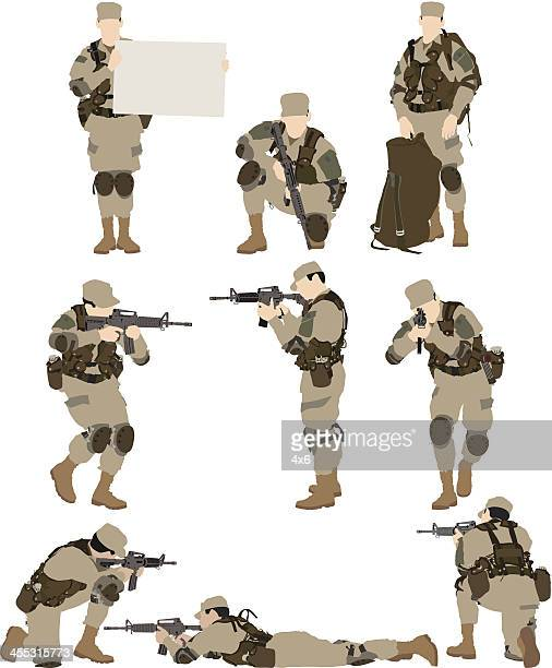 multiple vectors of army soldier - special forces stock illustrations, clip art, cartoons, & icons