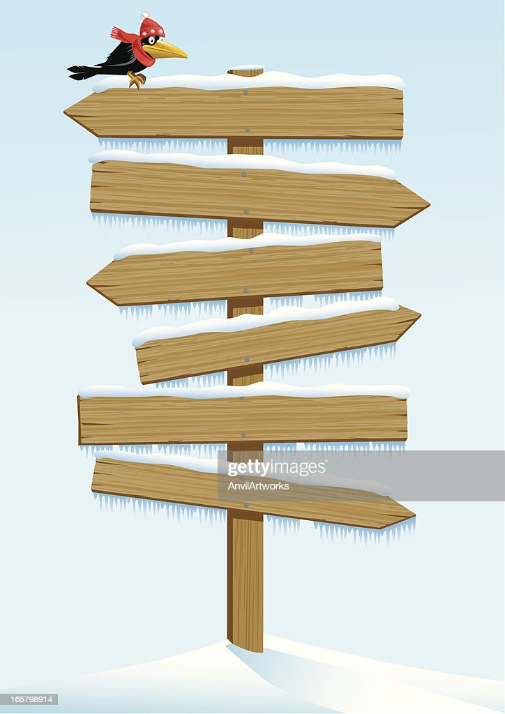Multiple Wooden Sign in Winter : stock illustration