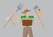 Multiple-tasking Busy Farmer Carton Character Vector Illustratio